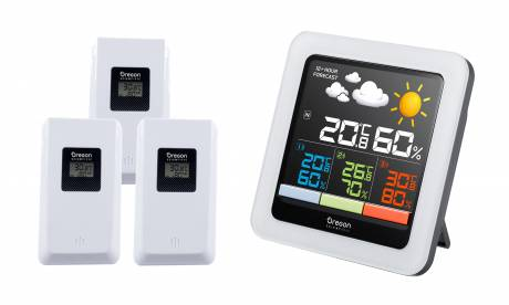 Oregon Scientific Color-LCD Multi-Zone Weather Station Button-free design with weather data updated automatically.