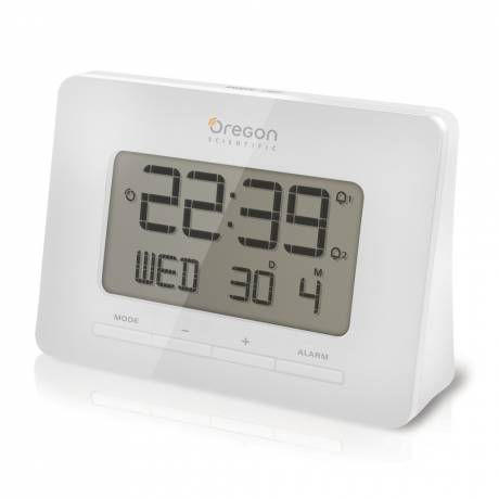 Oregon Scientific Radio-Controlled Alarm Clock with Dual Alarm Function, white LED display with illumination. 8 minutes snooze.