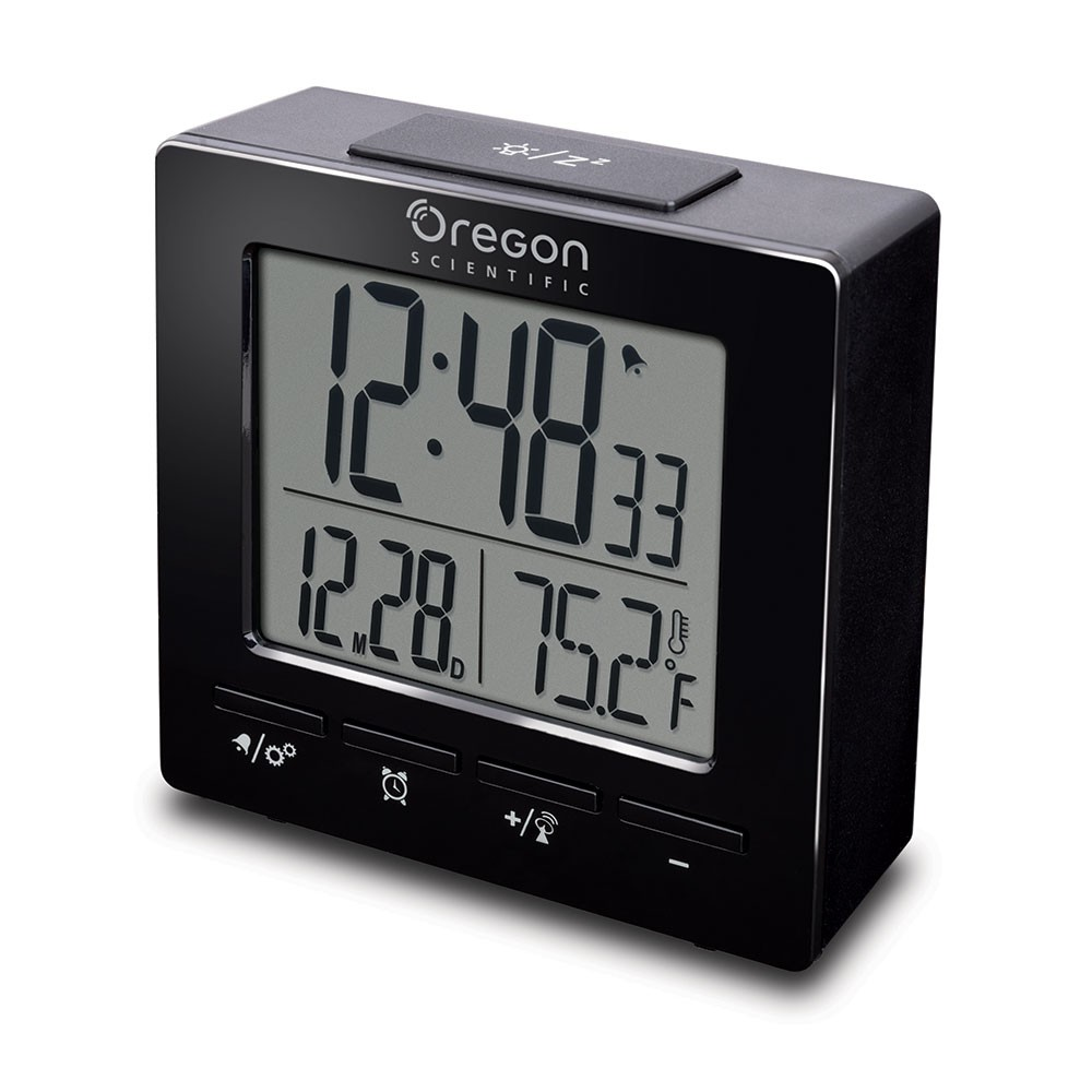 Oregon Scientific Radio Controlled Clock with Indoor Temperature, black Dual alarms. LCD display with white backlight.