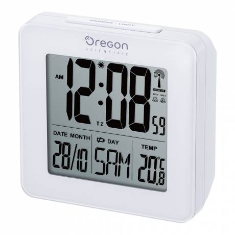 Oregon Scientific Radio Controlled Clock with Indoor Temperature, white Dual alarms. LCD display with white backlight.